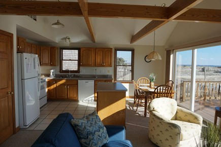 North Truro Cape Cod vacation rental - Open living/dining/kitchen area with panorama water view