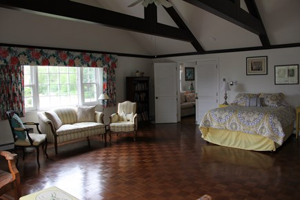 East Dennis Cape Cod vacation rental - Master Bedroom / Cathedral with sitting area.