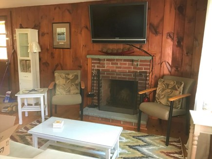 South Dennis Cape Cod vacation rental - Wide Screen TV and Fireplace in Living Room