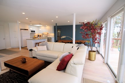 Wellfleet Cape Cod vacation rental - Living room has a sectional sofa will pull-out double bed
