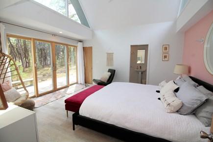 Wellfleet Cape Cod vacation rental - Master bedroom with Cali king, slider and en suite bathroom