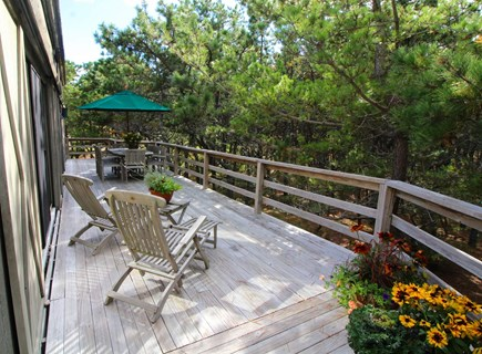 Wellfleet Cape Cod vacation rental - Large deck with teak furniture and wooded view