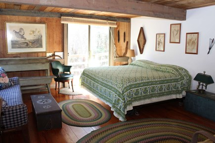 Wellfleet Cape Cod vacation rental - First floor master with king bed and slider to deck