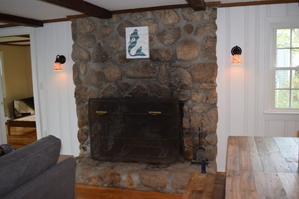 Mashpee Cape Cod vacation rental - Stone fireplace adds charm (but sorry—cannot be used!)