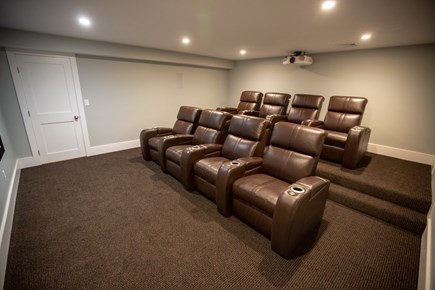 Brewster Cape Cod vacation rental - Theatre room with comfortable reclined sofas and surround sound