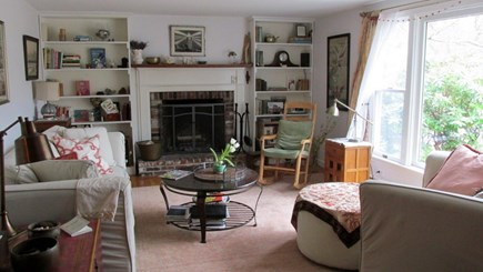 Eastham Cape Cod vacation rental - Living Room and Fireplace