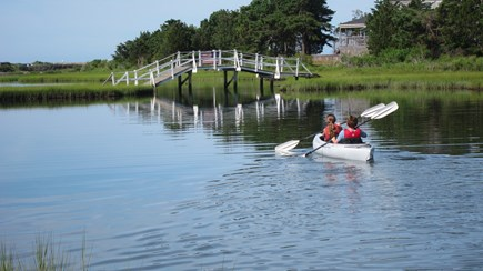 East Falmouth Cape Cod vacation rental - Kayaking on the pond in front of the house (included)