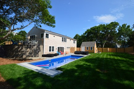 Eastham Cape Cod vacation rental - Large fenced backyard with saltwater pool