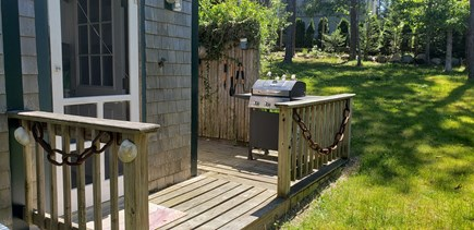 Wellfleet, Pleasant Point Cape Cod vacation rental - Back deck for grilling and enclosed outdoor shower