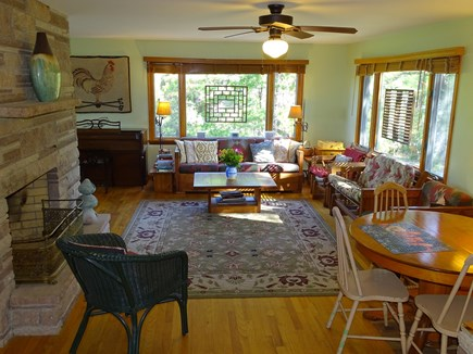 Truro Cape Cod vacation rental - Comfortable sunny living room, opens to dining, kitchen