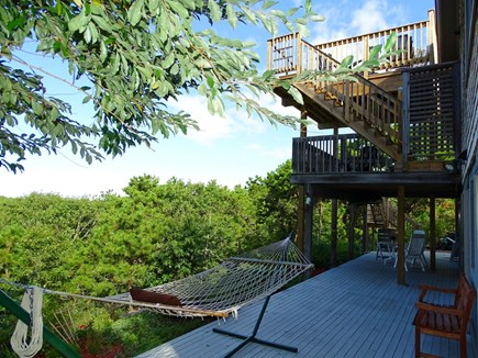 Truro Cape Cod vacation rental - Relax on one of 3 deck levels, all facing private back w/hammock