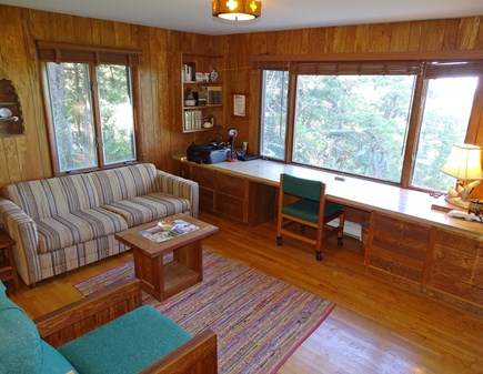 Truro Cape Cod vacation rental - Main level office with TV, sofa bed, views of water