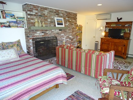 Truro Cape Cod vacation rental - Fireplace bedroom with 2 Queens, smart TV, slider to deck