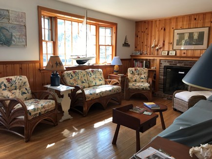 Dennis Port Cape Cod vacation rental - Living Room seating area facing couch.