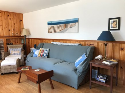 Dennis Port Cape Cod vacation rental - Living Room couch facing picture window.