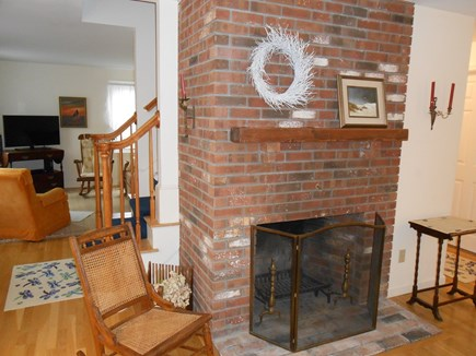 Dennis, Harwich Cape Cod vacation rental - Living Rm w/Fire Place, leads to lounge room w/flat screen TV+.