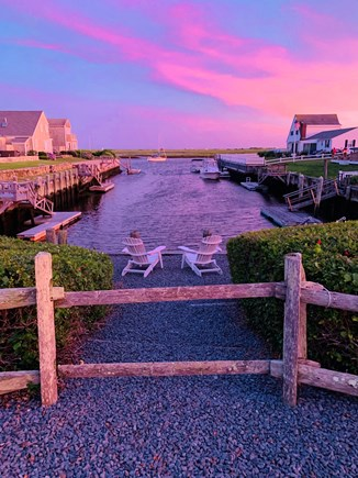 West Dennis Cape Cod vacation rental - Sunset on the dock. The Bass river direct access to ocean 70'dock