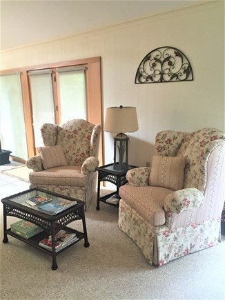 Eastham Cape Cod vacation rental - Seating area in front of large fire place
