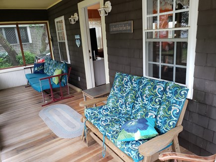 Plymouth, White Horse Beach, Manomet MA vacation rental - Screened front porch with glider and swing - heaven
