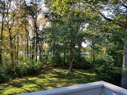 Barnstable, Marstons Mills Cape Cod vacation rental - Rear Deck View to Middle Pd. (taken before Vista Pruning)
