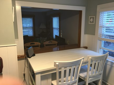 South Yarmouth Cape Cod vacation rental - Kitchen area that looks into living room with seating for 4!