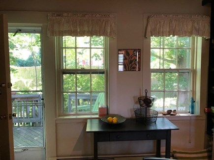 Wellfleet Cape Cod vacation rental - Looking out of kitchen to small deck.