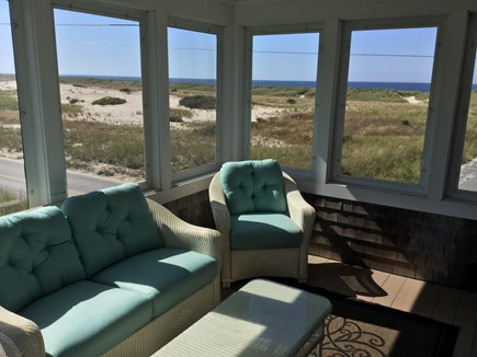 Truro Cape Cod vacation rental - Screen Porch with View of Dunes and Bay