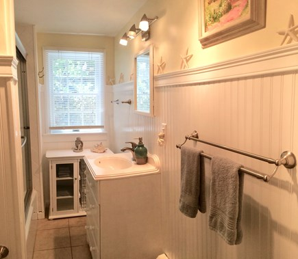 Provincetown Cape Cod vacation rental - Bathroom with full tub & shower - there's also an outside shower.