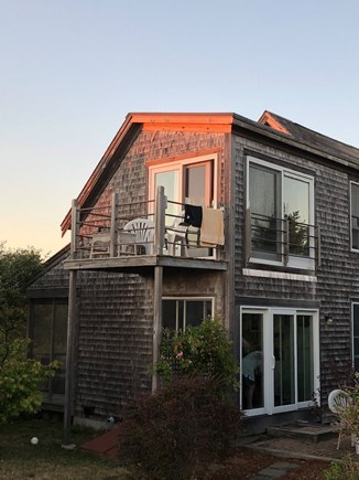 Truro Cape Cod vacation rental - Deck at sunset, with loft window visible above