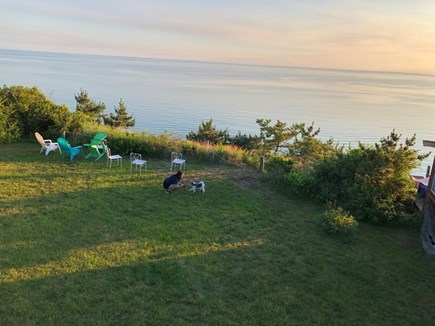 Truro Cape Cod vacation rental - Lawn extends to edge of dramatic coastal bluff overlooking Bay