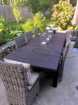 North Chatham Cape Cod vacation rental - Custom made mahogany table and 8 Frontgate chairs