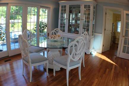 North Chatham Cape Cod vacation rental - Beautiful dining set, china filled w/ McKenzie Childs collection