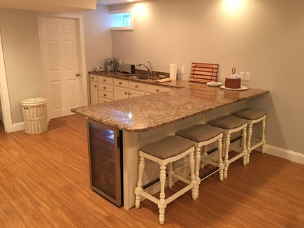 North Chatham Cape Cod vacation rental - Basement with bar, sink and handy beverage frig!