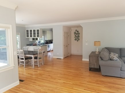 Mashpee, New Seabury area Cape Cod vacation rental - View of kitchen area from nook/high table. Bright and roomy.