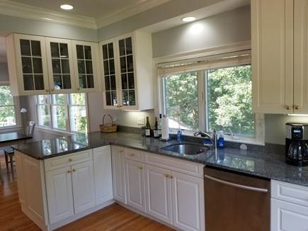 Mashpee, New Seabury area Cape Cod vacation rental - L shaped granite counter topped kitchen