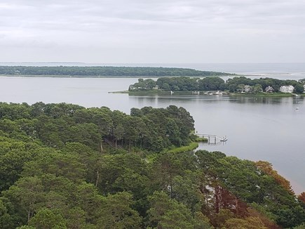 Mashpee, New Seabury area Cape Cod vacation rental - Birds eye view looking out to bay and ocean over property
