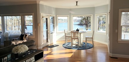 New Seabury area Cape Cod vacation rental - Nook off tv and kitchen table area overlooking Ockway bay
