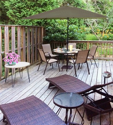 East Orleans Cape Cod vacation rental - Large Wraparound Deck, Enclosed Shower Lovely Wooded Surroundings