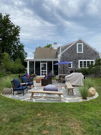 Dennis Cape Cod vacation rental - Shell and Bluestone Patio, Fire Pit and Weber Gas Grill