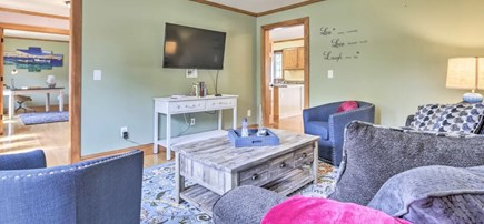 Onset MA vacation rental - Open sun filled Living Room with flat screen smart TV