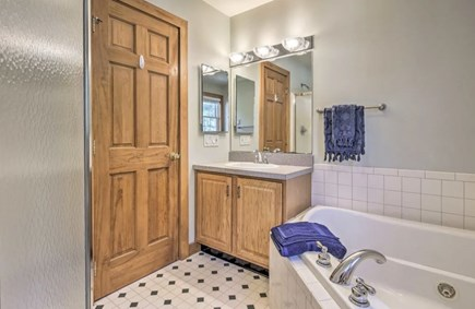 Onset MA vacation rental - Master Bathroom with luxurious tub