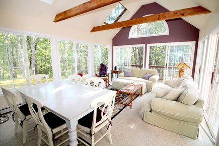 Wellfleet Cape Cod vacation rental - Sun room with sofa, chairs and table