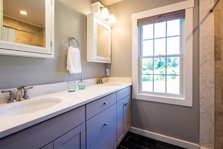 Chatham Cape Cod vacation rental - Master bathroom with stand up tiled shower