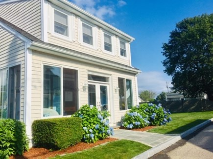 Falmouth Heights Cape Cod vacation rental - House front w/enclosed screen porch perfect for coffee or wine.