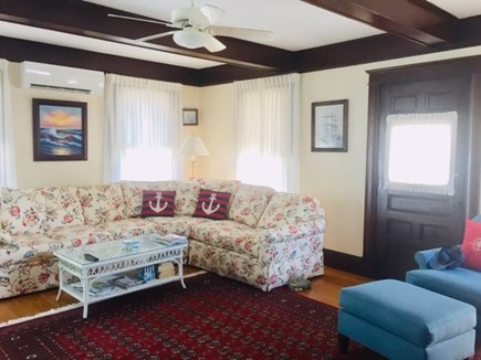 Falmouth Heights Cape Cod vacation rental - Living room w/sectional and large TV.