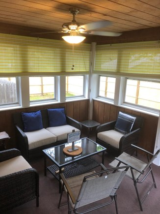 South Yarmouth Cape Cod vacation rental - Screened in Porch with ceiling fan .