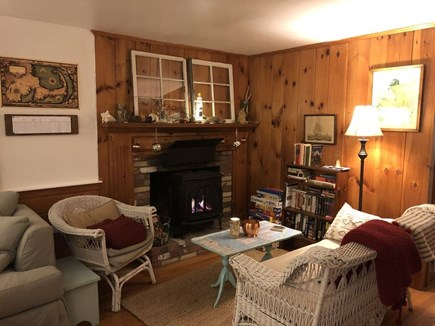 West Yarmouth Cape Cod vacation rental - Family room in winter - cozy gas fireplace