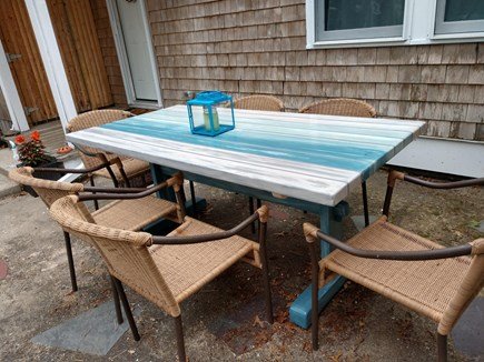 Eastham Cape Cod vacation rental - Enjoy outdoor meals at this farm table which easily seats 6!
