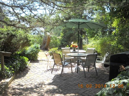 Wellfleet, Pine Point Cape Cod vacation rental - Patio with gas grill and view.