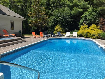 East Falmouth Cape Cod vacation rental - Large HEATED pool with plenty of Lounge seating